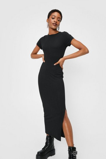 Black Slit Ribbed Midi T-Shirt Dress