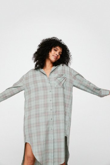 Teal Check Out Time Oversized Longline Shirt