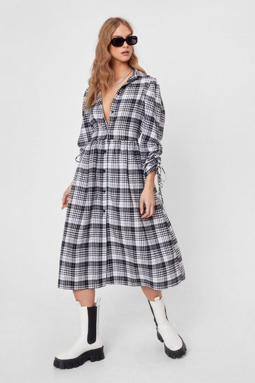 White Love Ruche Check Midi Shirt Dress