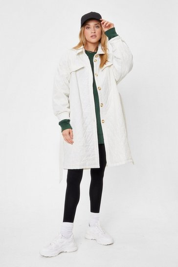 Cream Catch Me Outside Quilted Belted Coat