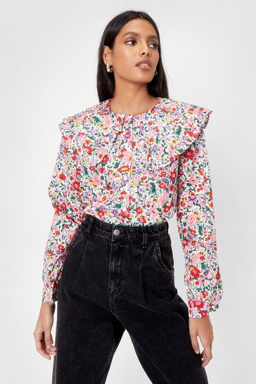 White Floral Oversized Collar Button Up Blouse