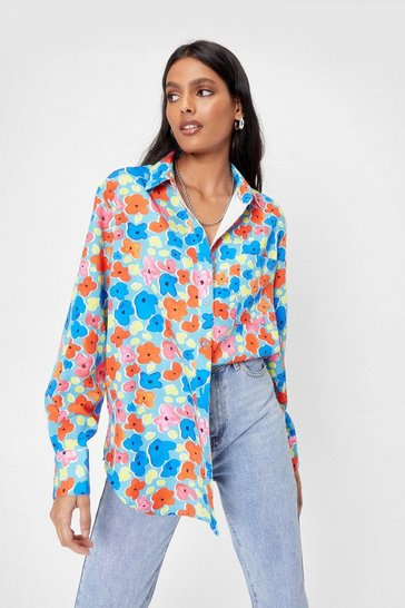 Red Bud System Floral Oversized Shirt