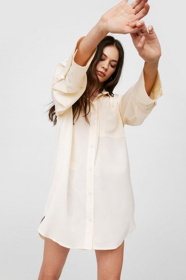 Cream Starting Over-sized Mini Shirt Dress