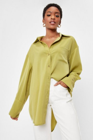 Olive Starting Over-sized Mini Shirt Dress