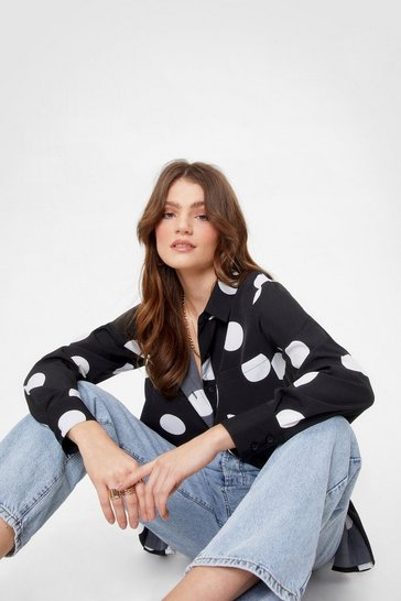 Black Dot the Feelin' Satin Relaxed Shirt