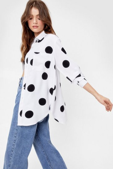 White Dot the Feelin' Satin Relaxed Shirt