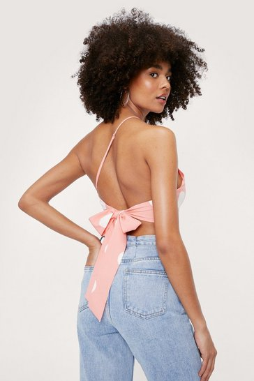 Peach Polka Dot Print Asymmetric Halter Crop Top