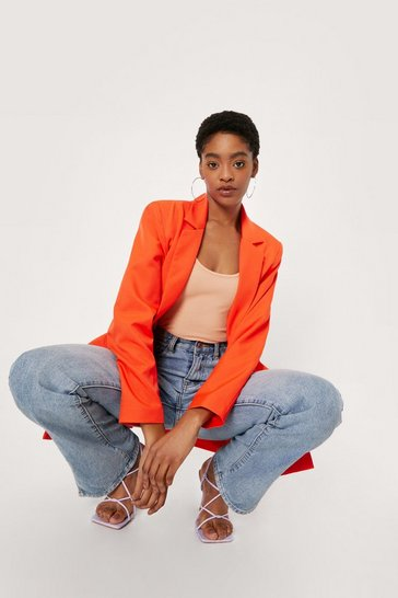 Orange Shoulder Padded Oversized Double Breasted Blazer