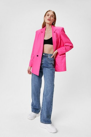 Pink Shoulder Padded Oversized Double Breasted Blazer