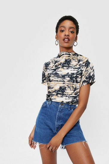 Black Tie Dye High Neck Crop T-Shirt