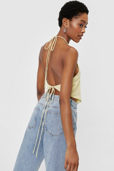 Lime Halter Tie Open Back Crop Top