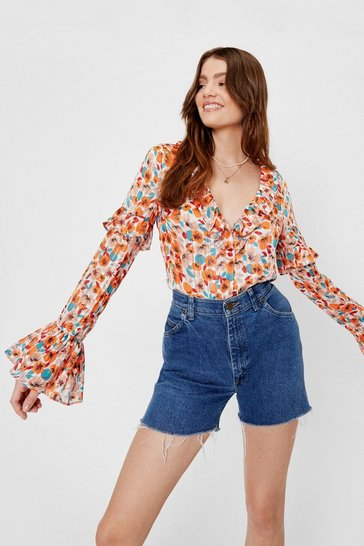 Orange Floral Print Ruffle V Neck Blouse
