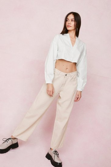 White Collarless Button Up Crop Shirt