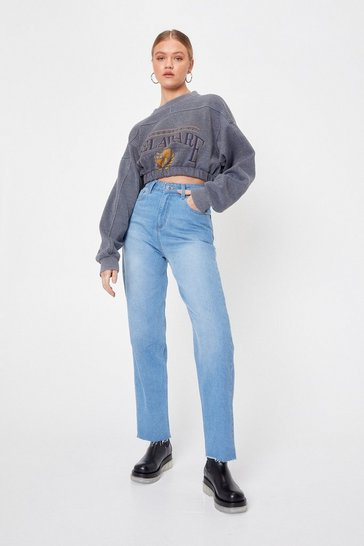 Vintage blue High Waisted Raw Hem Straight Leg Jeans