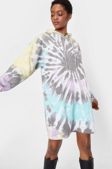Grey So Over-sized It Tie Dye Hoodie Dress
