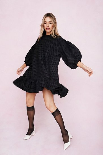 Black Waffle Puff Sleeve Peplum Hem Mini Dress