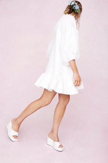 White Waffle Puff Sleeve Peplum Hem Mini Dress