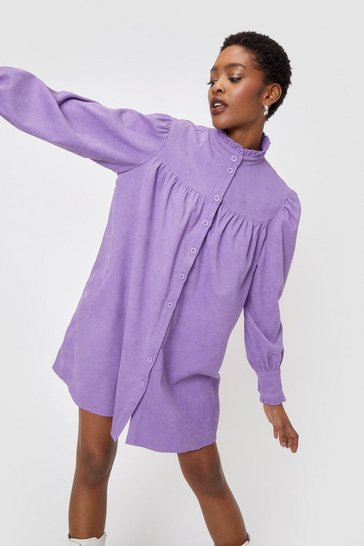 Purple Corduroy High Neck Mini Shirt Dress
