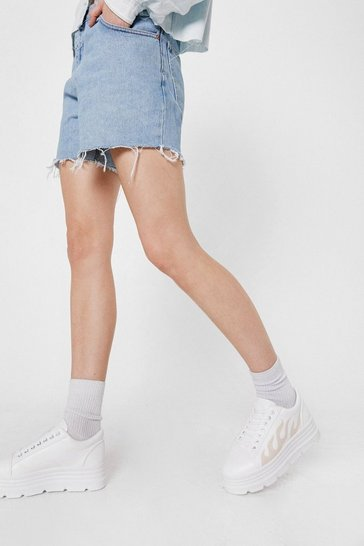 White Faux Leather Flame Graphic Platform Sneakers