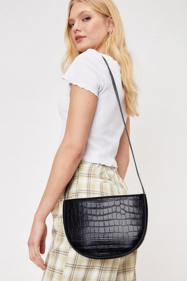 Black Faux Leather Croc Half Circle Crossbody Bag