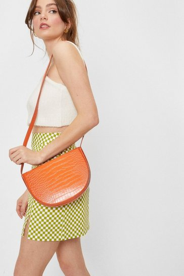 Orange Faux Leather Croc Half Circle Crossbody Bag