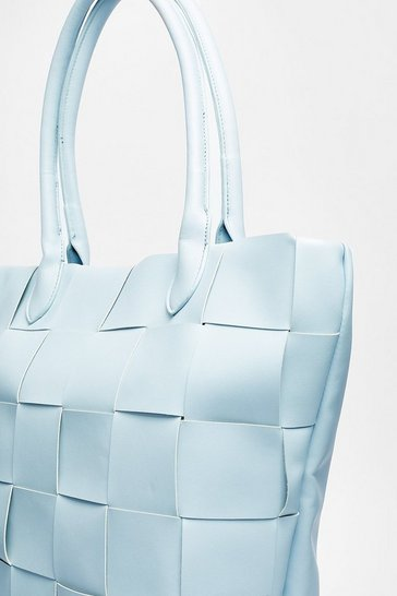 Baby blue Pu Woven Hatch Bag