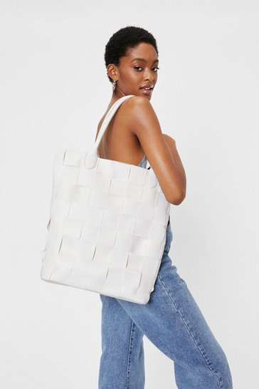 White Pu Woven Hatch Bag