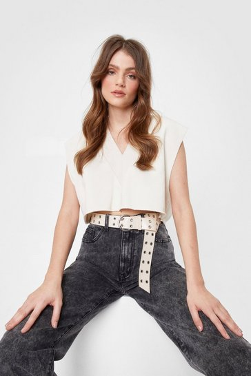Light stone Faux Leather Eyelet Detail Buckle Belt