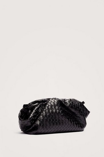 Black Faux Leather Woven Slouchy Crossbody Bag