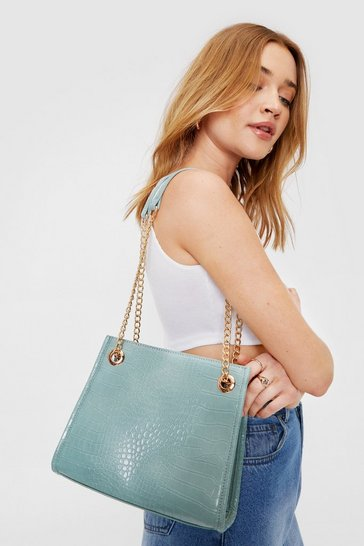 Sage Faux Leather Croc Chain Shoulder Bag