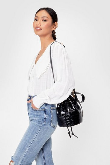 Black Pu Cr Bucket Crossbody Bag