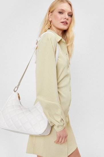 White Quilted Structured Faux Leather Crossbody Bag