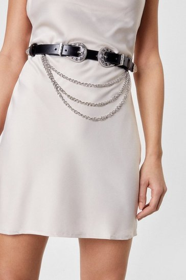 Stone Faux Leather Double Western Chain Belt