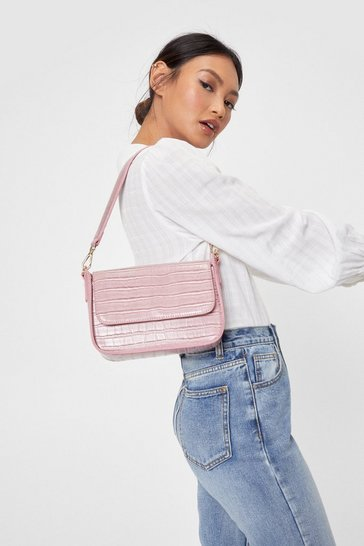 Pink Faux Leather Croc Box Shoulder Bag