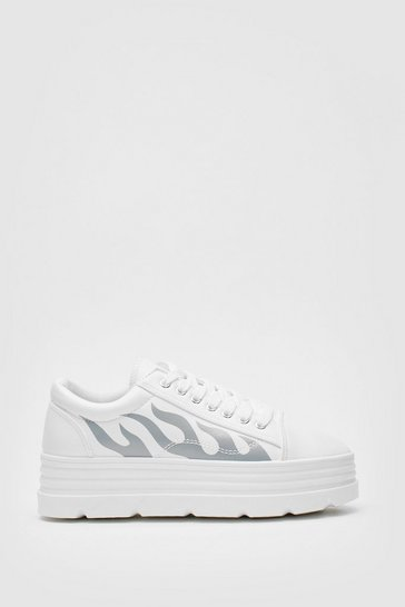 White Faux Leather Flame Platform Trainers