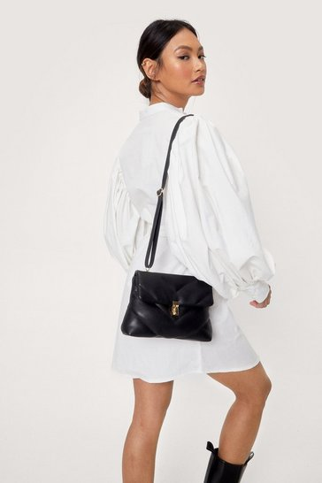 Black Faux Leather Quilted Crossbody Bag