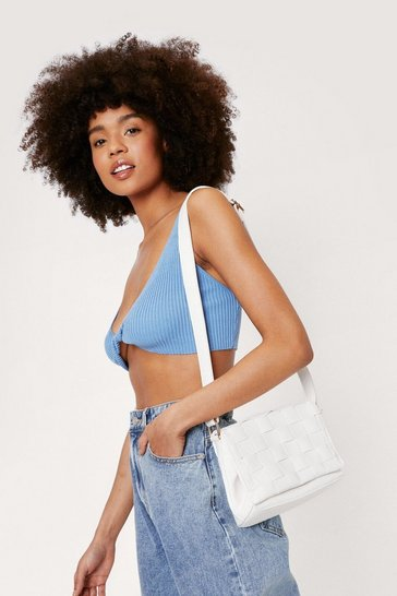White Faux Leather Woven Crossbody Bag