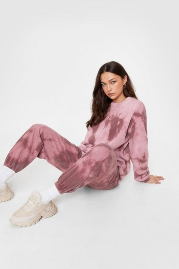 Red Tie Dye Me a Drink Sweatshirt and Jogger Set