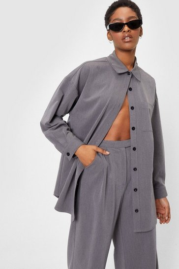Grey Whatever Suits You Oversized Button-Down Shirt