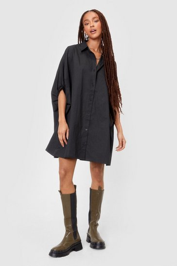 Black Batwing It On Oversized Shirt Dress