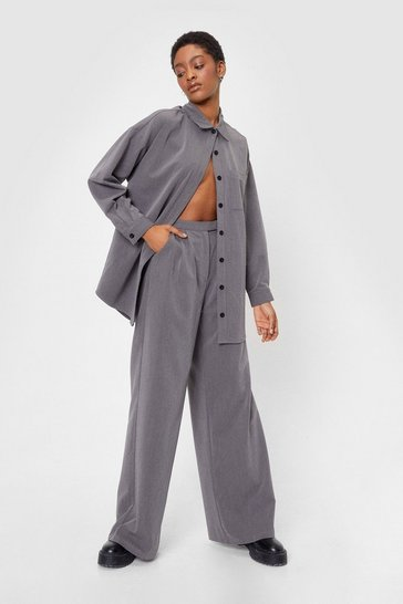 Grey Whatever Suits You Tailored Wide-Leg Pants