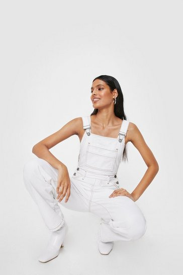 Ecru Denim Contrast Stitch Straight Leg Overalls