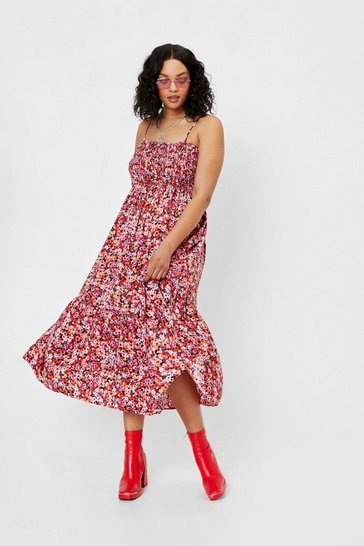 Red Plus Size Shirred Floral Print Midi Dress