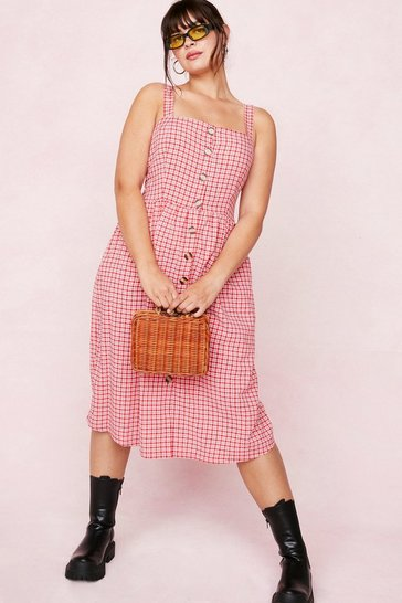Red Plus Size Button Down Gingham Midi Dress
