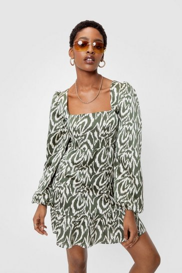 Olive Zebra Print Puff Sleeve Mini Dress
