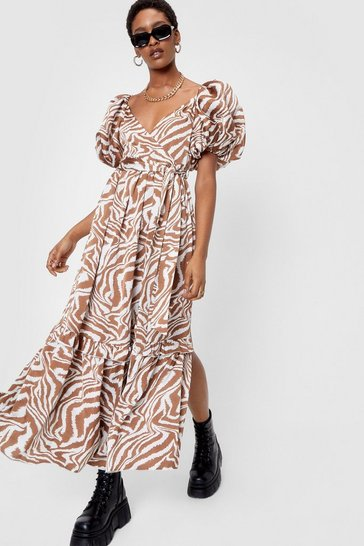 Cream Zebra Print V Neck Puff Sleeve Maxi Dress