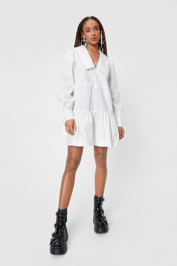 White Oversized Collar Long Sleeve Mini Dress