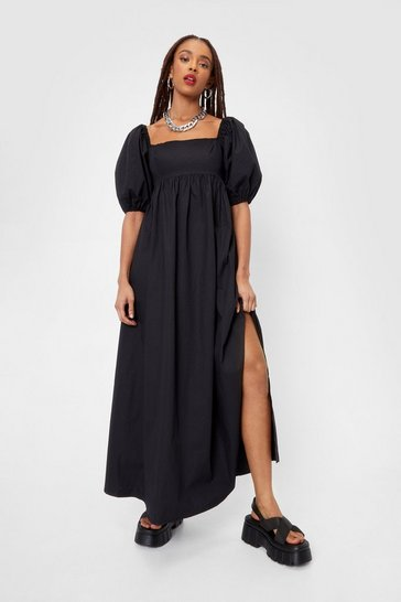 Black Shirred Back Puff Sleeve Poplin Maxi Dress