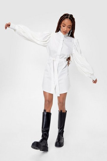 White Puff Sleeve Belted Mini Shirt Dress
