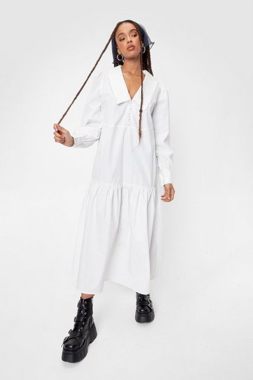 White Oversized V Neck Long Sleeve Maxi Dress